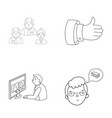 videoconference business thoughts a badge of vector image vector image