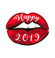 woman red lips happy new year 2019 shining red vector image vector image
