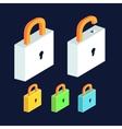lock icon set Open and close padlocks Isometric vector image