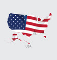 map of usa with flag vector image