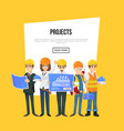 architecture company banner with worker team vector image