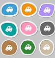 Auto icon symbols Multicolored paper stickers vector image