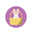 basket with cute rabbit head block style icon vector image vector image