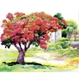 Blooming watercolor spring tree in garden vector image vector image
