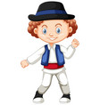 boy from romania in traditional outfit vector image vector image