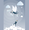 business man hold colleague with wings flying in vector image
