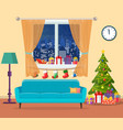 christmas room interior vector image vector image