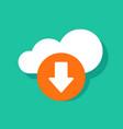 cloud download icon flat cartoon cloud vector image vector image