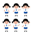 collection of little girls in school uniform vector image vector image