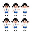 collection of little girls in school uniform vector image