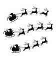 collection sleigh with bag gifts and reindeers vector image vector image