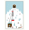 Cool pastel Cartoon ski poster The mountain vector image vector image