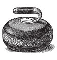 curling stone vintage vector image vector image