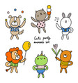 cute party animals collection vector image vector image