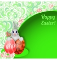 Easter background with rabbit easter eggs and vector image vector image