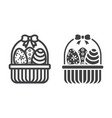 easter eggs in basket line and glyph icon vector image vector image