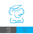 elephant wearing a graduation cap and reading a vector image
