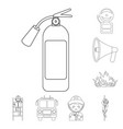 fire department outline icons in set collection vector image vector image
