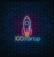 glowing neon sign of ico project startup business vector image vector image