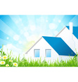 Green Grass with House vector image