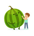 happy boy having fun with fresh smiling watermelon vector image vector image