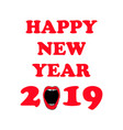 happy new 2019 year woman red lips hand drawn vector image vector image