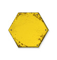 hexagon yellow grunge frames vector image vector image