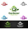 house gardener logo with green garden environment vector image vector image