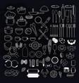 kitchen utensils symbols on blackboard vector image vector image