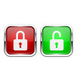 locked and unlocked buttons glass 3d icons vector image