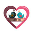 love card with cute bird vector image vector image