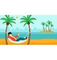 Man chilling in hammock vector image vector image