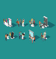 people standing at expo promotional stands vector image