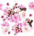 pink roses and peony flowers pattern vector image vector image