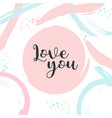 poster with typography love you valentine card vector image