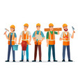 professional builders team contractor in helmet vector image
