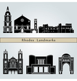 Rhodes landmarks and monuments vector image vector image