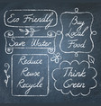 set hand drawn ecology lettering on chalkboard vector image vector image