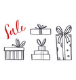 set hand drawn gift boxes 1 vector image