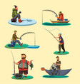 set of fisherman catches fish sitting on boat vector image