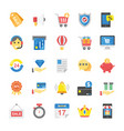 set of flat online shopping and commerce icon vector image