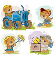 set of of teddy bears tractor vector image