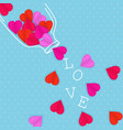 the valentine day card with hearts of paper vector image