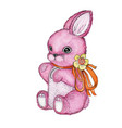 toy bunny with bow watercolor vector image vector image