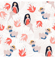 tropical girl seamless pattern vector image