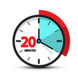 twenty minutes clock face icon symbol isolated vector image vector image