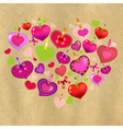 Valentines Day Card With Colorful Hearts And Old vector image