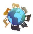 wild animals around globe banner vector image vector image