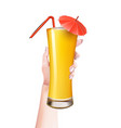 woman hand summer realistic cocktail glass vector image vector image
