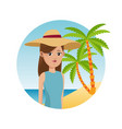 woman travel tourist with hat palm sand beach vector image vector image